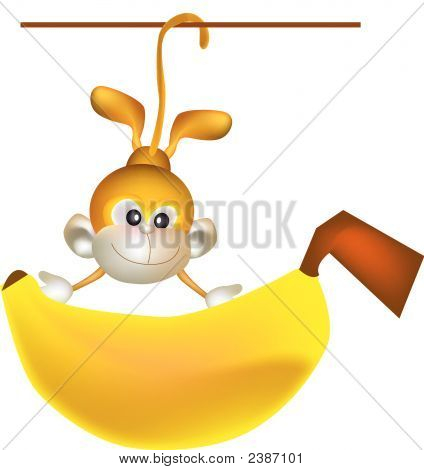 vector illustration for a monkey hanging and holding a big banana poster