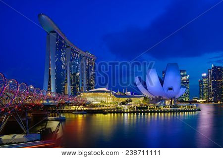 SINGAPORE CITY, SINGAPORE - APRIL 17, 2018: Marina Bay Sands at night the largest hotel in Asia. It opened on 27 April 2010. Singapore on April 17, 2018