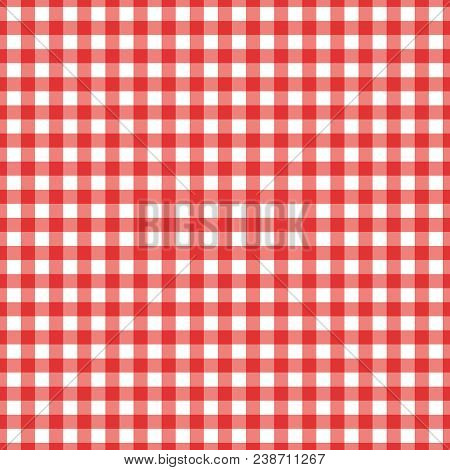 Red Checkered Textile Products. Texture Gingham Seamless Pattern. Vector Illustration Squares Or Rho