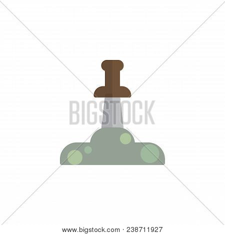 Excalibur Sword Flat Icon, Vector Sign, Colorful Pictogram Isolated On White. The Sword In The Stone