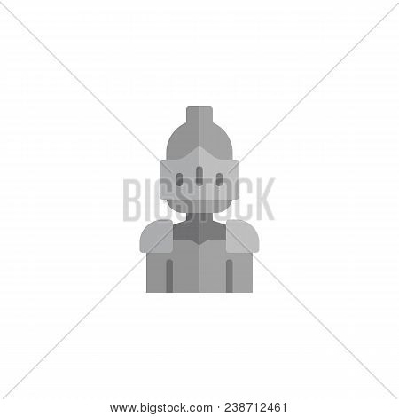 Knight Portrait Flat Icon, Vector Sign, Colorful Pictogram Isolated On White. Warrior Knight Symbol,
