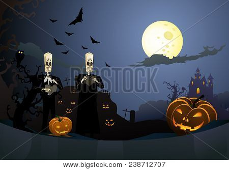 Illustration Of Scary Halloween Hideous Carved Pumpkins With Dead Man Theme Background
