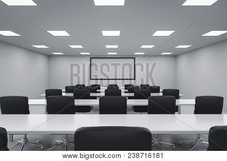 3d Rendering Empty Seminar Room Or Conference Room With Table And Chairs