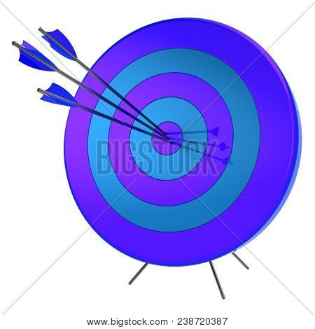 3D Illustration Of Target Arrows Success Shooting Accuracy