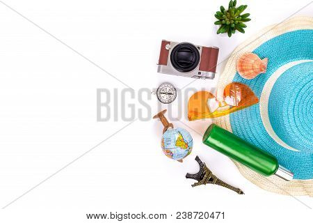 Outfit And Accessories Of Traveler On White Background With Copy Space, Travel Concept.overhead View