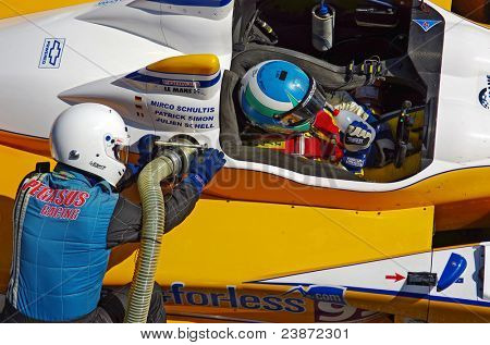 ESTORIL - SEPT. 25: The FLM Oreca 09 of the Pegasus Racing Team, stops in the pit-lane for refueling in the LMS race