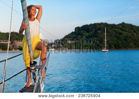 Sailing Boat Crew On Rest. Happy Young Woman On Deck Of Charter Yacht, Have Fun Discovering Islands