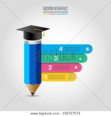 4834a7c8 Education infographics template 4 step option. Graduation cap and pencil  with timeline infographic design vector and marketing icons for  presentation, ...