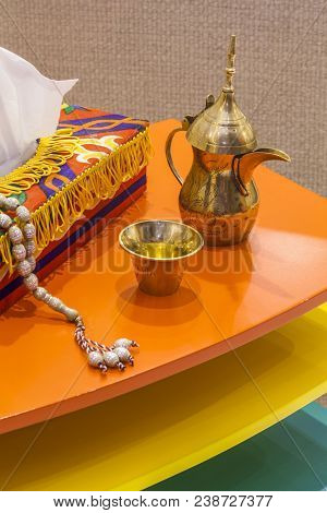 Arabic Coffee Pot, Arabic Coffee Is One Of Special Drinks In Arabic Culture, Rosary Beads