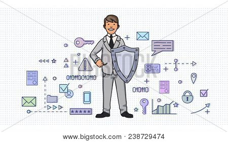 Smiling Man In Business Suit With A Shield Among Digital And Internet Security Items. Personal Data