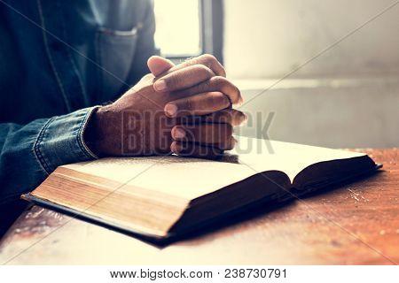 Hands prayer faith in christianity religion