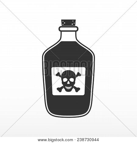 Bottle Of Poison. Glass Bottle With Poison. Icon On White Background. Vector Illustration.