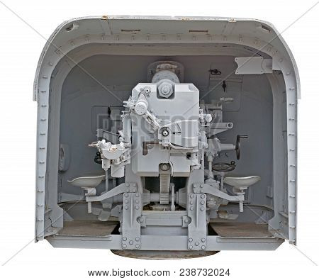 Back Of Naval Gun. World War Ii. Isolated On White Background