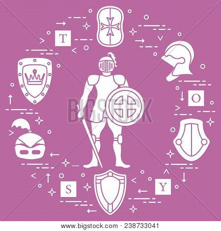 Knight, Shields, Swords, Helmets, Cubes. Design Element For Postcard, Banner Or Print.