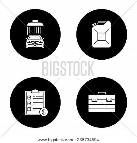 Auto Workshop Glyph Icons Set. Car Washing, Steel Jerry Can, Invoice, Construction Toolbox. Vector W
