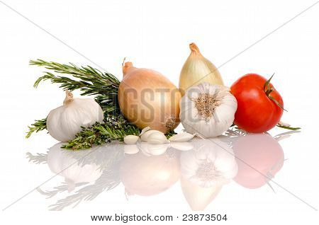 Health food vegetables isolated on a white background. poster