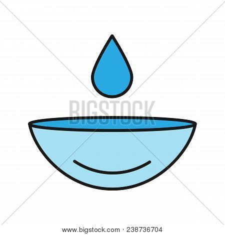 Eye Contact Lens With Drop Color Icon. Contact Lenses Rewetting. Isolated Vector Illustration