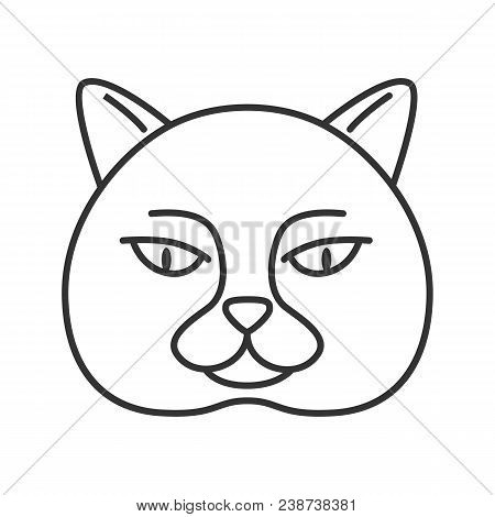 British Shorthair Cat Linear Icon. Thin Line Illustration. British Blue. Contour Symbol. Vector Isol
