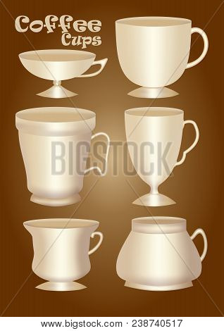 Set Of 3d Ceramics Or Porcelain Cup Without Decoration, Design Element For Graphics, Classical And V