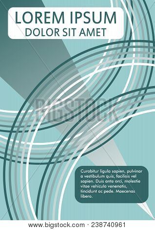Flyer, Book Cover, Poster, Bill, Leaflet Graphic Template With Arcs, Gradient Patterns On Green Back