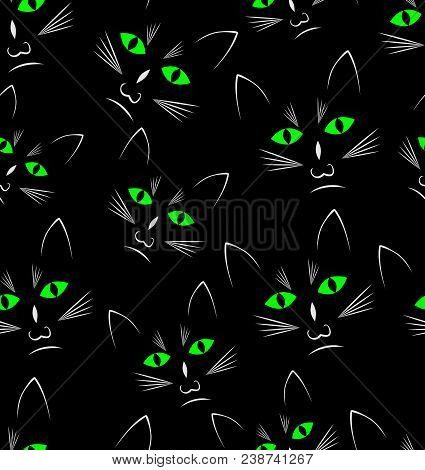 Black Background With Black Cats Heads, Seamless Vector Background, Vector Eps 10