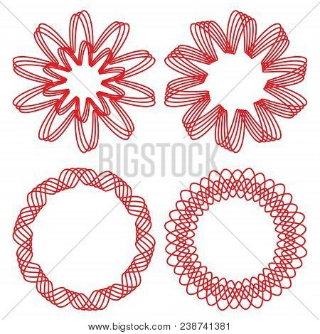 Collection Of Circle Design Elements, Red Outline Geometric Shapes, Vector Eps 10