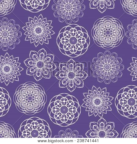 Ultraviolet Seamless Background With Monoline White Lace Patterns In Vintage Style, Trendy Purple Co