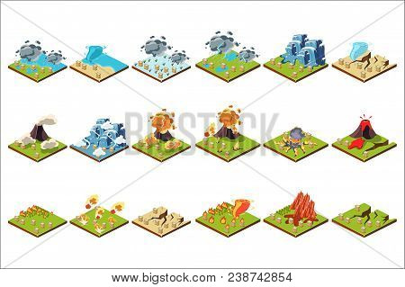 Natural Disaster Set, Volcanic Eruption, Tornado, Flood, Fire, Drought Vector Illustrations Isolated