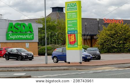 Flint, Uk: May 1, 2018: Asda And Sainsbury Who Have Announced A Potential Merger With No Store Closu
