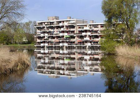 Apartment Building From The Eighties Near Water In Capelle Aan Den Ijssel In The Netherlands