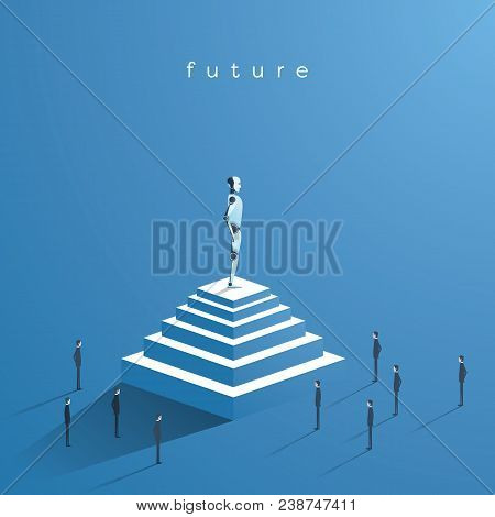 Technology Vector Concept Of Artificial Intelligence Compared To Humans. Ai On Top Of Pyramid Superi