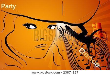 women, silhouette, music