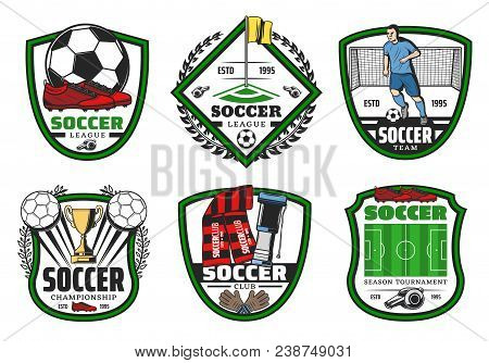 Soccer Sport League Championship Label For Football Game Design. Soccer Ball, Golden Winner Cup And
