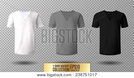 Realistic Vector V-neck T-shirt Mock Up Illustration. White, Gray, Black