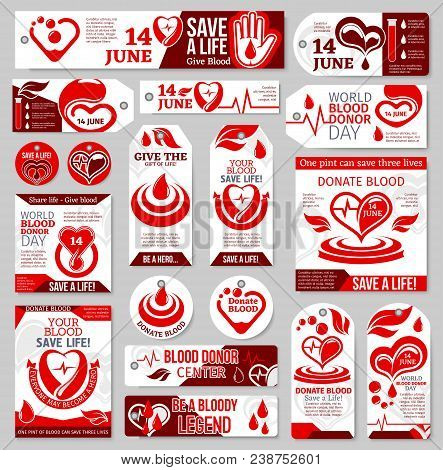Blood Donor Day Tag And Label Set. Medical Banner Of Blood Donation With Red Drop, Heart, Pulse And