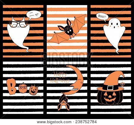 Set Of Hand Drawn Templates For Halloween Greeting Cards Invitations Posters With Cute Cartoon Characters Ghost Cat Meow Nya In Japanese