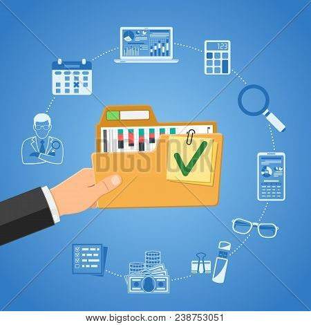 Auditing, Tax Process, Business Accounting Infographics. Auditor Holds Folder With Checked Up Financ