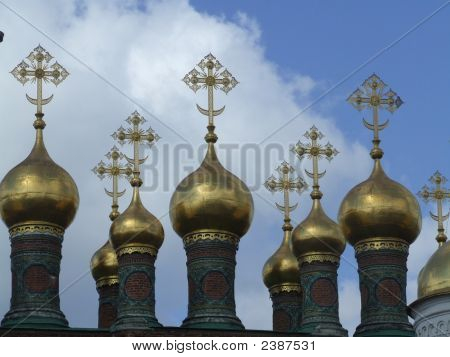Golden Crosses On The Top Of Buildings In Moscow, The Kremlin