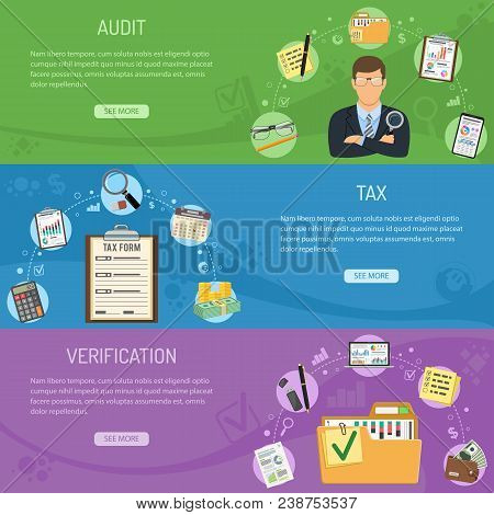 Auditing, Tax, Business Accounting Horizontal Banners With Flat Style Icons Auditor, Folder, Tax For