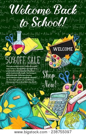 Back To School Sale Or Autumn Eduction Season Poster Of Mathematics Formula On Green Chalkboard Back