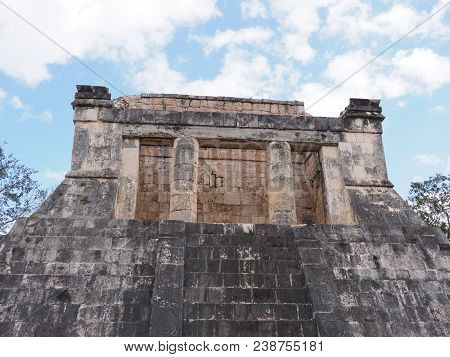 Ancient Wall Ruins Of Great Ball Court Buildings At Chichen Itza City, Mexico, Largest Most Impressi