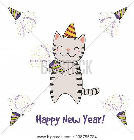 Hand drawn happy new vector photo free trial bigstock hand drawn happy new year greeting card with cute funny cartoon cat with a party popper m4hsunfo