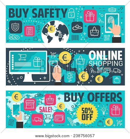 Secure Online Shopping Banner For E-commerce And Online Payment Security Concept. Online Shopping Wi
