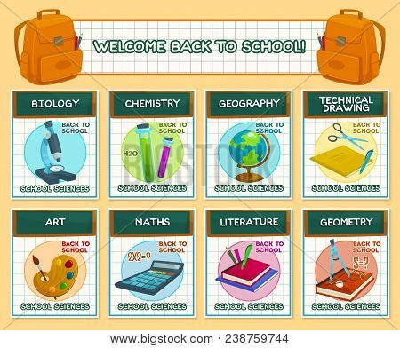 Welcome Back To School Lesson Science Posters Design Template. Vector Biology, Chemistry Microscope
