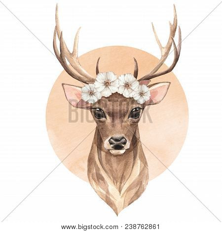 Noble Deer In Wreath. Spring Watercolor Illustration