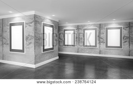 Modern Concrete Gallery Room With Directional Spotlight And Frames. Product Artwork Exhibition Mock