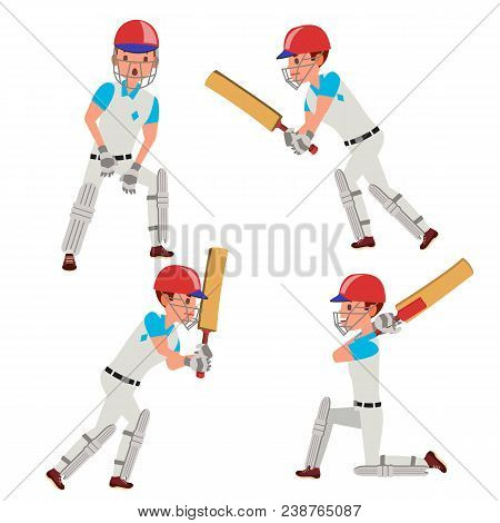 Professional Cricket Player Vector. Equipped Players. Pads, Bats, Helmet. Isolated On White Cartoon
