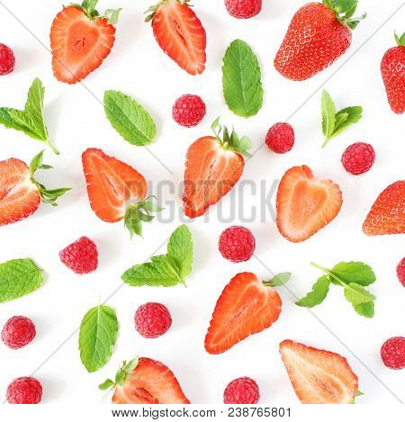 Styled Stock Photo. Summer Healthy Fruit Composition With Sliced Strawberries, Raspberries, Fresh Gr