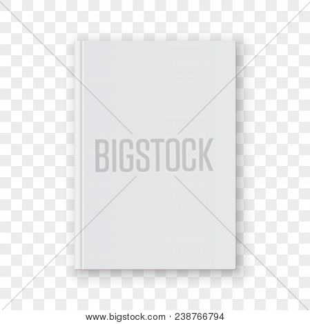 Book Cover Blank White Vertical Design Template. Vector Empty Book Cover Model Mockup Isolated On Tr