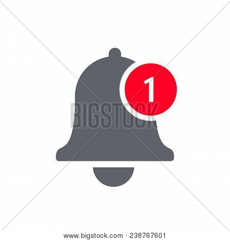Notification Bell Icon For Incoming Inbox Message. Vector Bell And Notification Number Sign For Smar